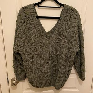 Olive green braided sleeve sweater